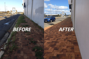 Before and after CMBM repairs the footpath at Wide Bay.